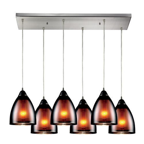 Elk Lighting Modern Multi-Light Pendant Light with White Glass 10053/6RC