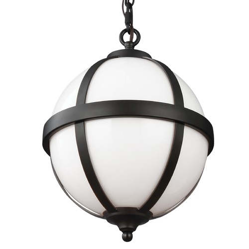 Feiss Lighting Feiss Lighting Amato Oil Rubbed Bronze Pendant Light with Globe Shade F3053/2ORB