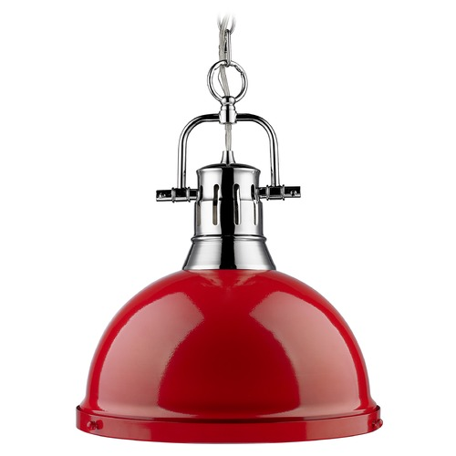 Golden Lighting Golden Lighting Duncan Chrome Pendant Light with Bowl / Dome Shade 3602-L CH-RD