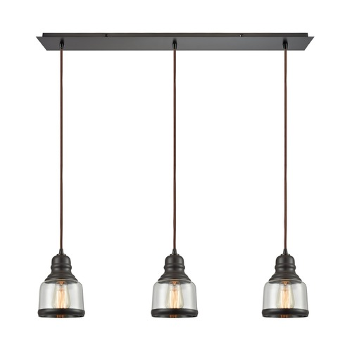 Elk Lighting Elk Lighting Menlow Park Oil Rubbed Bronze Multi-Light Pendant with Bowl / Dome Shade 60068/3LP