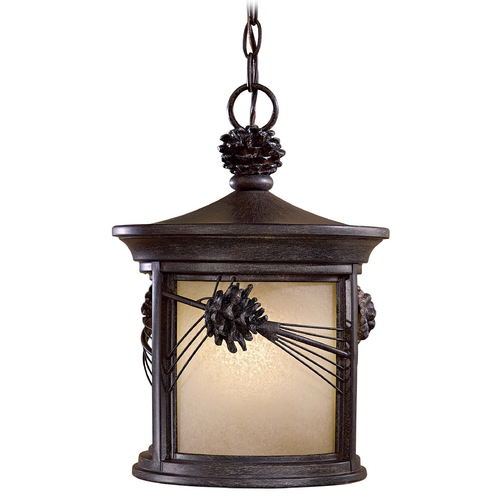 Minka Lavery Outdoor Hanging Light with Beige / Cream Glass in Iron Oxide Finish 9154-A357-PL