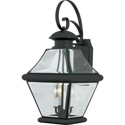 Quoizel Lighting Outdoor Wall Light with Clear Glass in Mystic Black Finish RJ8411K