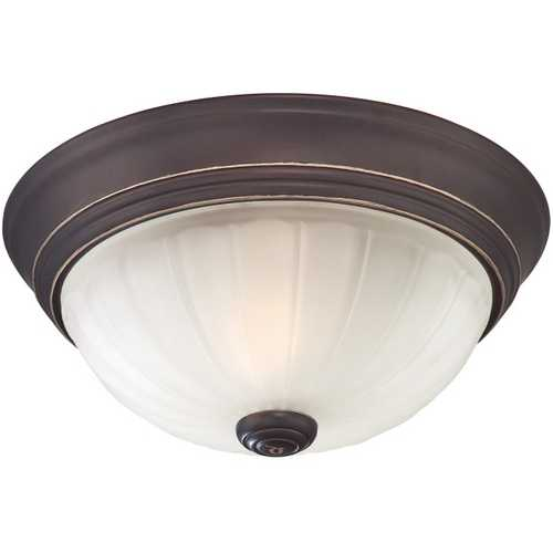 Quoizel Lighting Flushmount Light with White Glass in Palladian Bronze Finish ML182PNUL