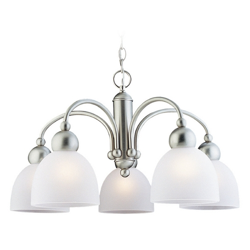 Sea Gull Lighting Modern Chandelier with White Glass in Brushed Nickel Finish 39036BLE-962