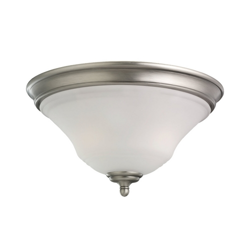 Sea Gull Lighting Flushmount Light with White Glass in Antique Brushed Nickel Finish 75381-965