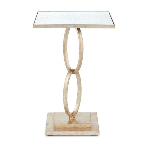 Currey and Company Lighting Accent Table in Silver Leaf Finish 4096