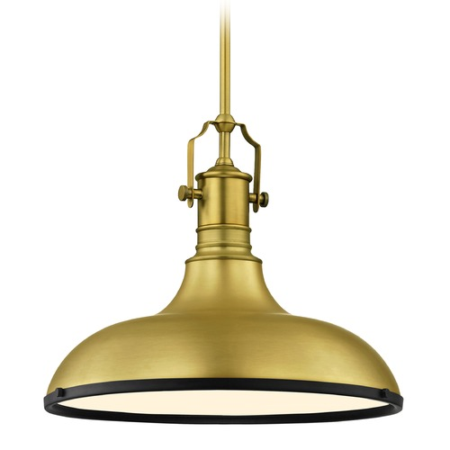 Design Classics Lighting Farmhouse Brass Pendant Light with Black Accents 15.63-Inch Wide 1765-12 SH1777-12 R1777-07