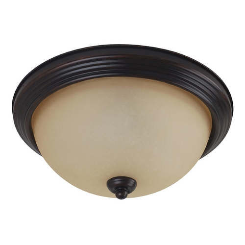Sea Gull Lighting Flushmount Light with Amber Glass in Burnt Sienna Finish 79364BLE-710