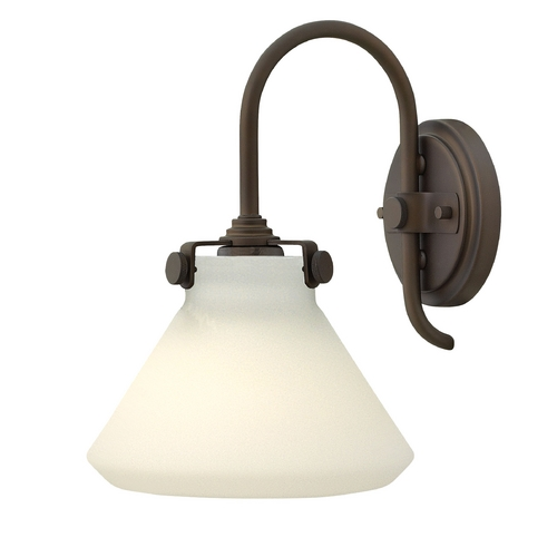 Hinkley Lighting Sconce Wall Light with White Glass in Oil Rubbed Bronze Finish 3170OZ