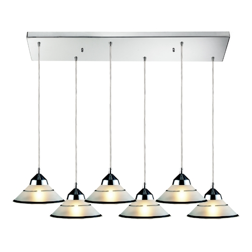 Elk Lighting Modern Multi-Light Pendant Light with White Glass and 6-Lights 1477/6RC