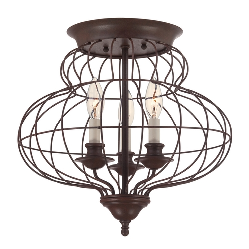 Quoizel Lighting Flushmount Light in Rustic Antique Bronze Finish LLA1615RA