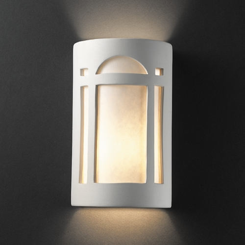 Justice Design Group Sconce Wall Light with White in Bisque Finish CER-7395-BIS