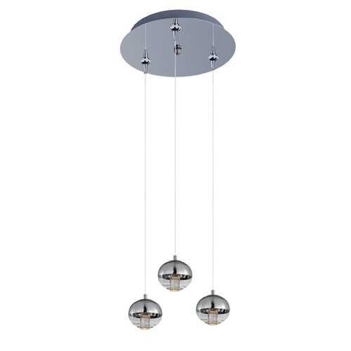 ET2 Lighting Zing Polished Chrome LED Multi-Light Pendant with Globe Shade E22562-81PC