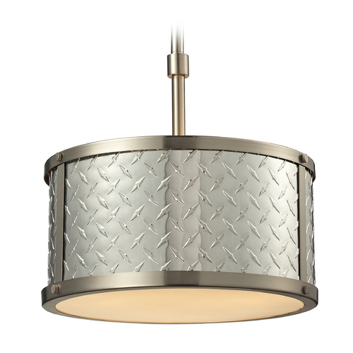 Elk Lighting LED Drum Pendant Light in Brushed Nickel Finish 31424/3-LED