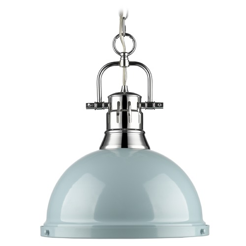 Golden Lighting Golden Lighting Duncan Chrome Pendant Light with Bowl / Dome Shade 3602-L CH-SF