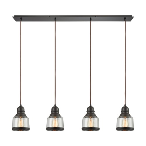 Elk Lighting Elk Lighting Menlow Park Oil Rubbed Bronze Multi-Light Pendant with Bowl / Dome Shade 60068/4LP