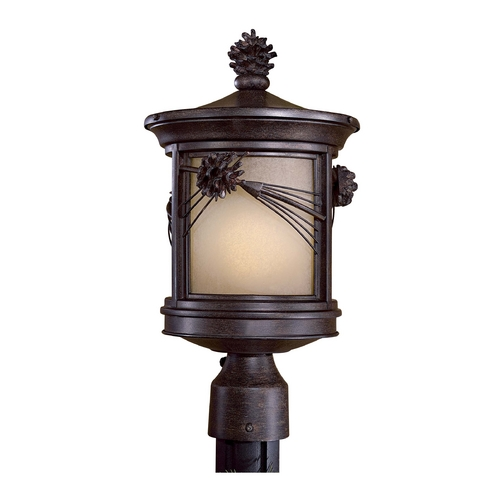 Minka Lighting Post Light with Beige / Cream Glass in Other Finish 9156-A357-PL