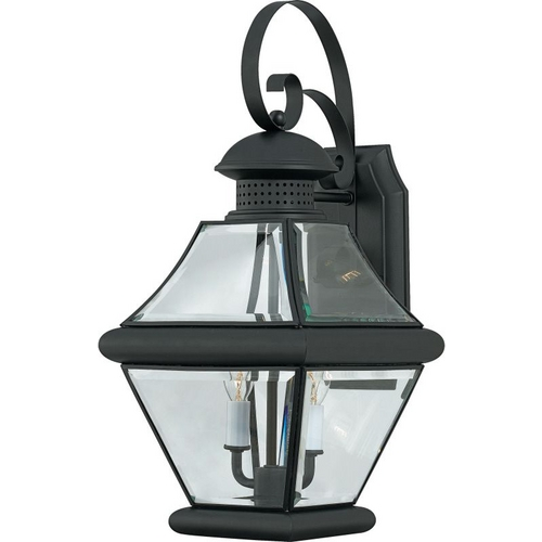 Quoizel Lighting Outdoor Wall Light with Clear Glass in Mystic Black Finish RJ8409K