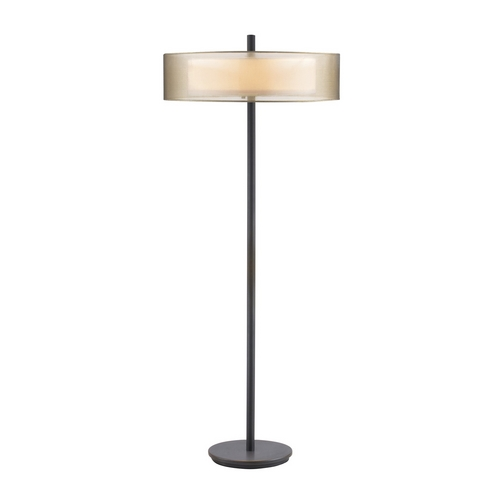 Sonneman Lighting Modern Floor Lamp with Brown Shades in Black Brass Finish 6016.51