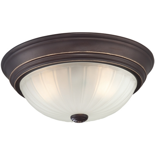 Quoizel Lighting Flushmount Light with White Glass in Palladian Bronze Finish ML183PN