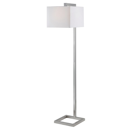 Kenroy Home Lighting Modern Floor Lamp with White Shade in Brushed Steel Finish 21080BS