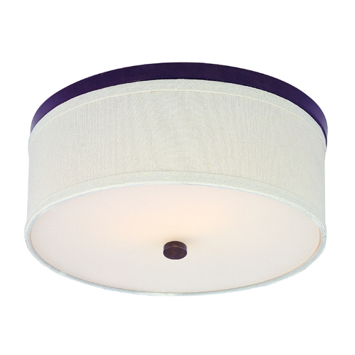 Design Classics Lighting Bronze Flushmount Ceiling Light with Cream Drum Shade 5551-604 SH9460