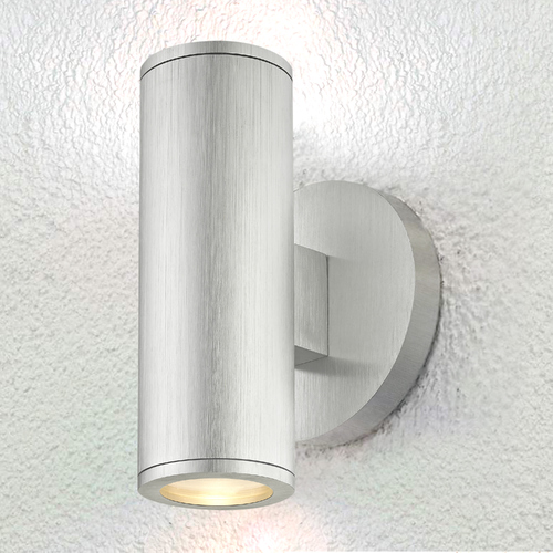 Design Classics Lighting Cylinder Outdoor Wall Light Up / Down Brushed Aluminum 1770-BA