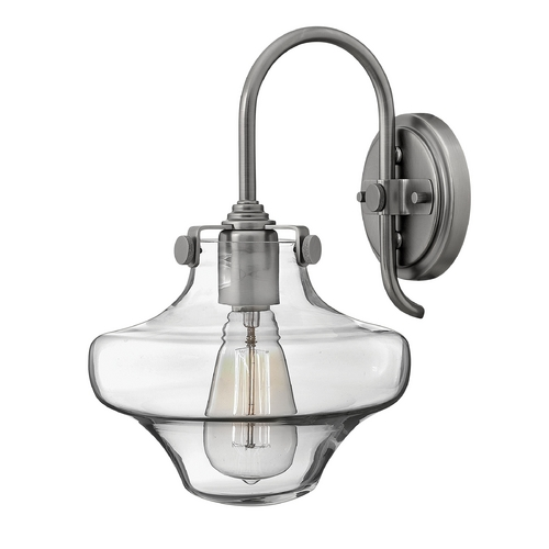 Hinkley Lighting Sconce Wall Light with Clear Glass in Antique Nickel Finish 3171AN
