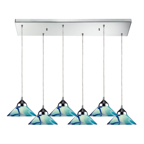 Elk Lighting Modern Multi-Light Pendant Light with Blue Glass and 6-Lights 1477/6RC-CAR