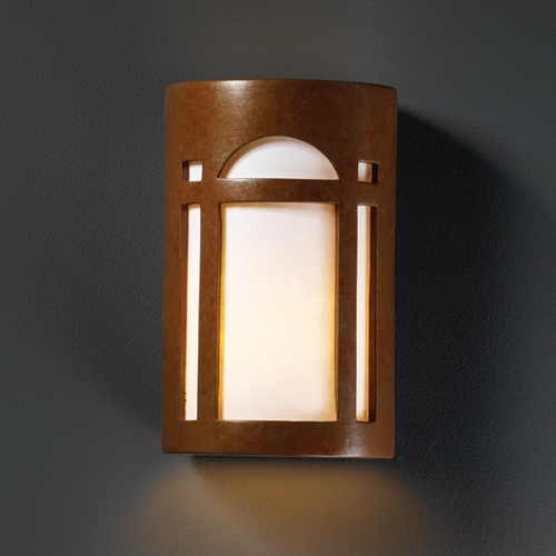 Justice Design Group Sconce Wall Light with White in Rust Patina Finish CER-7395-PATR
