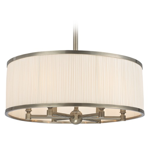 Hudson Valley Lighting Hastings 6 Light Pendant Light Drum Shade - Historic Nickel 5224-HN