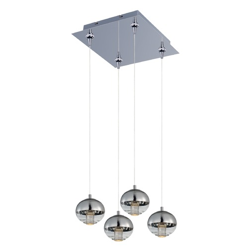 ET2 Lighting Zing Polished Chrome LED Multi-Light Pendant with Globe Shade E22563-81PC