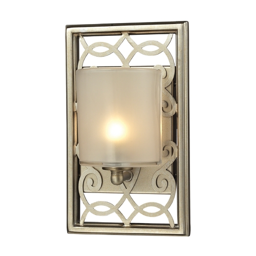 Elk Lighting Sconce Wall Light with White Glass in Aged Silver Finish 31426/1