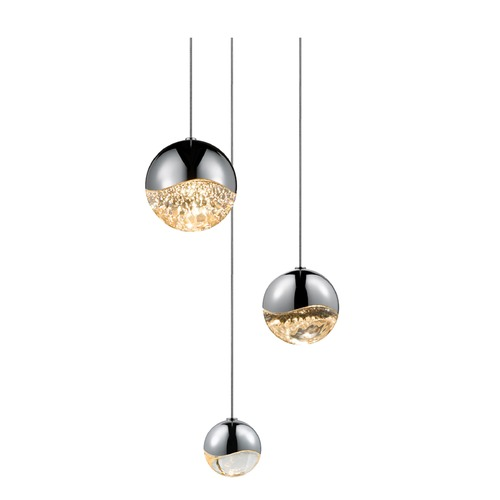 Sonneman Lighting Sonneman Grapes Polished Chrome 3 Light LED Multi-Light Pendant   2914.01-AST