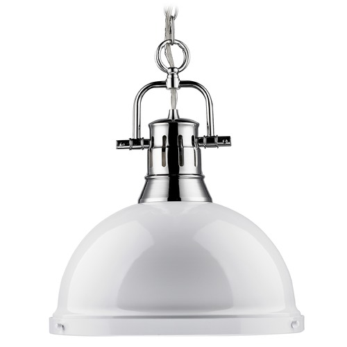 Golden Lighting Golden Lighting Duncan Chrome Pendant Light with Bowl / Dome Shade 3602-L CH-WH