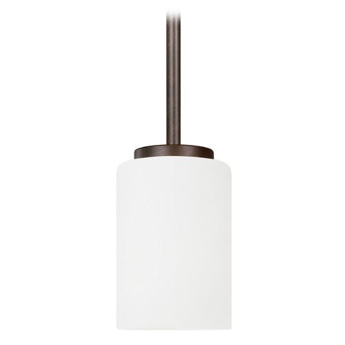 Sea Gull Lighting Sea Gull Lighting Oslo Bronze Mini-Pendant Light with Cylindrical Shade 61160-710