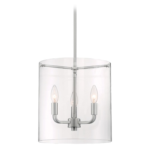 Satco Lighting Satco Lighting Sommerset Brushed Nickel Pendant Light with Cylindrical Shade 60/7177