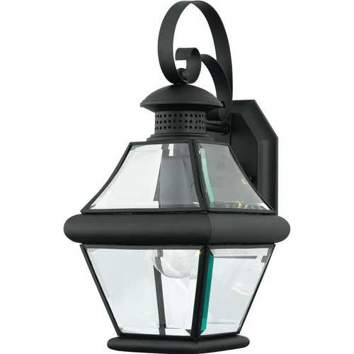 Quoizel Lighting Outdoor Wall Light with Clear Glass in Mystic Black Finish RJ8407K