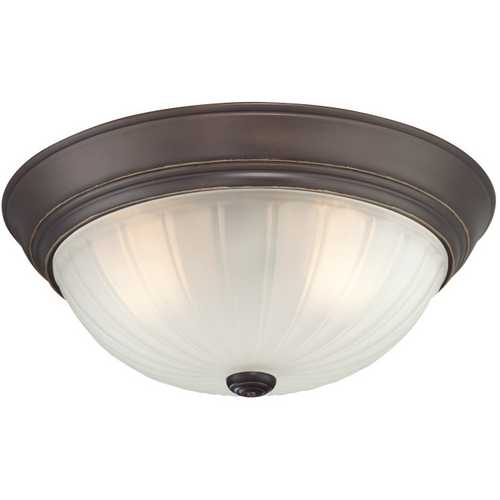 Quoizel Lighting Flushmount Light with White Glass in Palladian Bronze Finish ML184PN