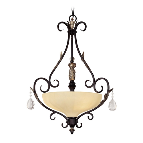 Minka Lighting Pendant Light in Castlewood Walnut W/silver Highlights Finish 773-301