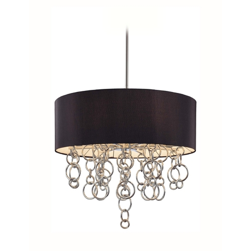 George Kovacs Lighting Modern Drum Pendant Light with Black Shade in Chrome Finish P400-0-077
