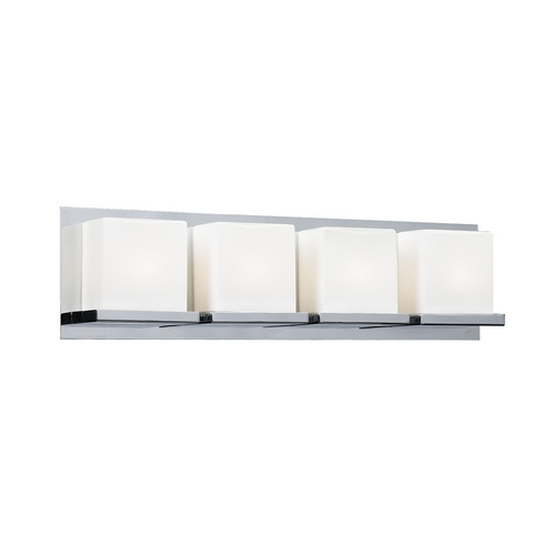 PLC Lighting Modern Bathroom Light with White Glass in Polished Chrome Finish 18154 PC
