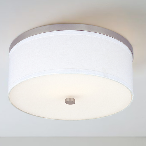 Design Classics Lighting 15-Inch Satin Nickel Flushmount Ceiling Light with White Drum Shade 5551-09 SH9461