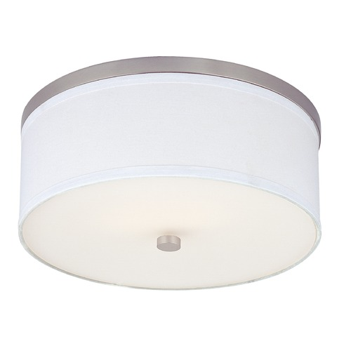 Flushmount Ceiling Light with White Drum Shade 5551 09 SH9461