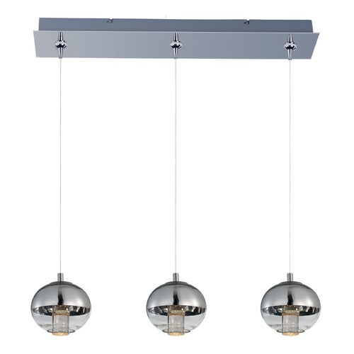 ET2 Lighting Zing Polished Chrome LED Multi-Light Pendant with Globe Shade E22564-81PC