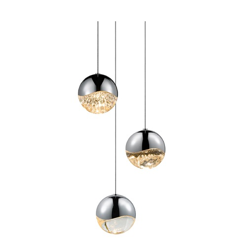 Sonneman Lighting Sonneman Grapes Polished Chrome 3 Light LED Multi-Light Pendant   2914.01-LRG