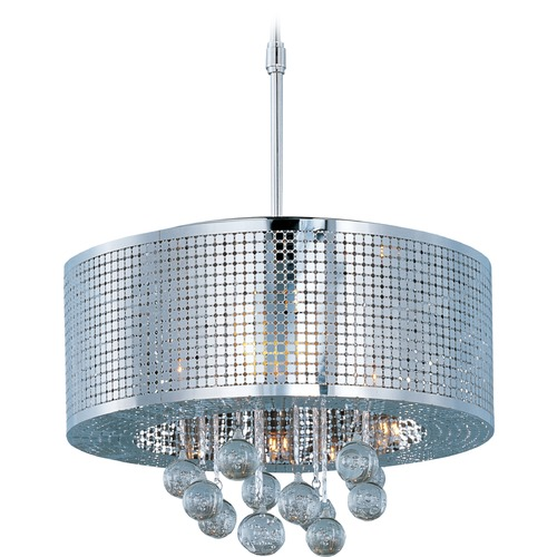 ET2 Lighting Illusion Polished Chrome Pendant Light with Drum Shade E24386-91PC