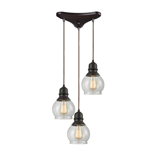 Elk Lighting Elk Lighting Menlow Park Oil Rubbed Bronze Multi-Light Pendant with Bowl / Dome Shade 60069/3