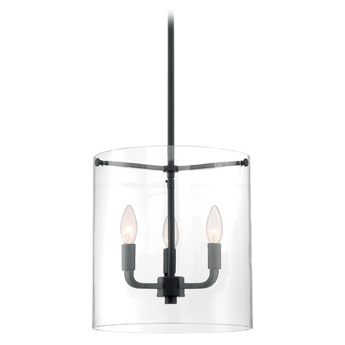 Satco Lighting Satco Lighting Sommerset Matte Black Pendant Light with Cylindrical Shade 60/7277