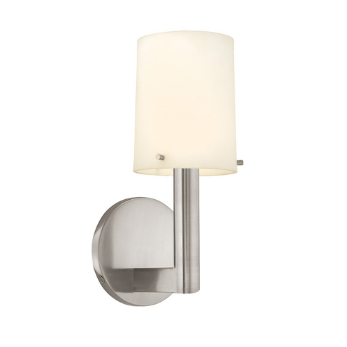 Sonneman Lighting Modern Sconce Wall Light with White Glass in Satin Nickel Finish 1911.13